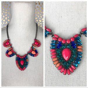 Pink Coral Blue Jewel Bib Statement Necklace